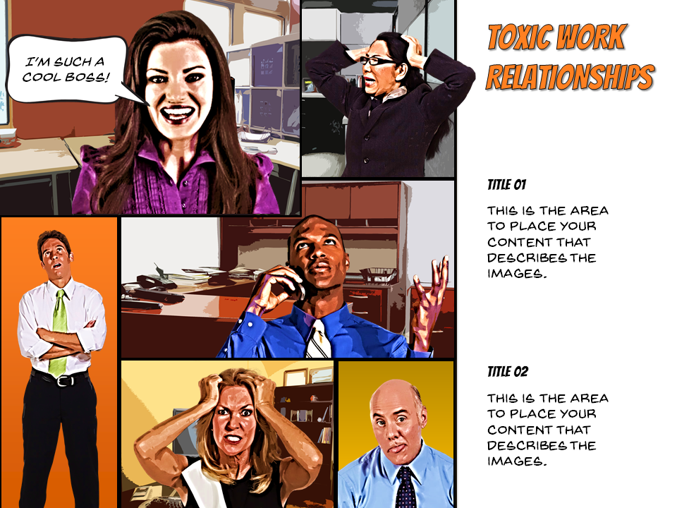 Articulate presenter comic book template instructional design by and artistic effects tools cutout effect 6 shades varying transparency levels to cartoonify the articulate photographic characters in this template maxwellsz